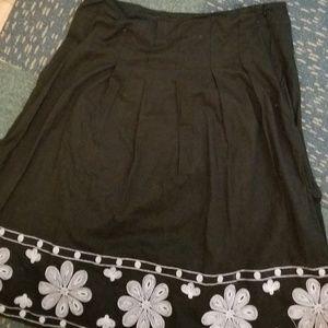 Black below-knee skirt